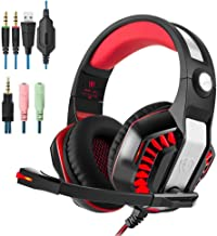 PS4 Gaming Headset | Xbox One Headset |Xbox One S Headset with Microphone VOTRON Over Ear Stereo Gaming Headphones with LED Light Noise Reduction for Xbox One PS4 PC Mac iPad PSP Headphones (red)