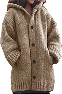 neveraway Women's Hood Single Button Utility Pocket Mid Long Knit Wool Coat