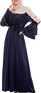 zhxinashu Women Muslim Swing Maxi Dress - Full Length Islamic Clothing Plus Size Velvet Abaya Long Sleeve Gown