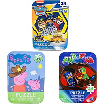 3 Collectible Girls/Boys Mini Jigsaw Puzzles in Travel Tin Cases: Paw Patrol, Peppa Pig, PJ Masks Bundle (24 Pieces Each)
