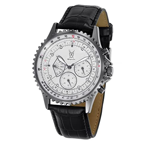 Konigswerk Mens Multifunction Black Leather Watch White Dial Crystal Markers SQ201461G