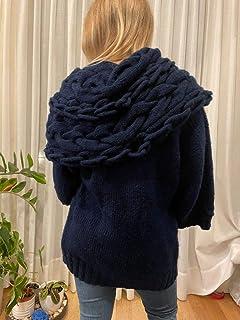 Chaqueta larga azul con cuello grande y original, kimono, oversize, talla S-M, para mujer