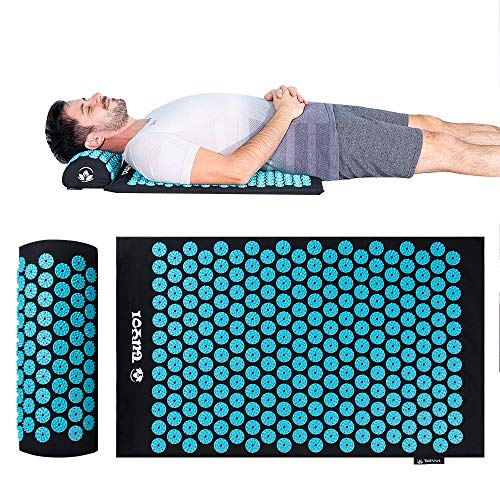 TUYOI Acupressure Mat and Pillow Set Back/Neck Pain Relief 100% Cotto-Linen Massage Cushion for Muscle Relaxation,Sciatic Pain Relief and Trigger Point Therapy- Reflexology Mat Stress Relief Black