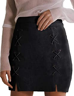 Women's Classic High Waist Lace Up Bodycon Faux Suede A Line Mini Pencil Skirt