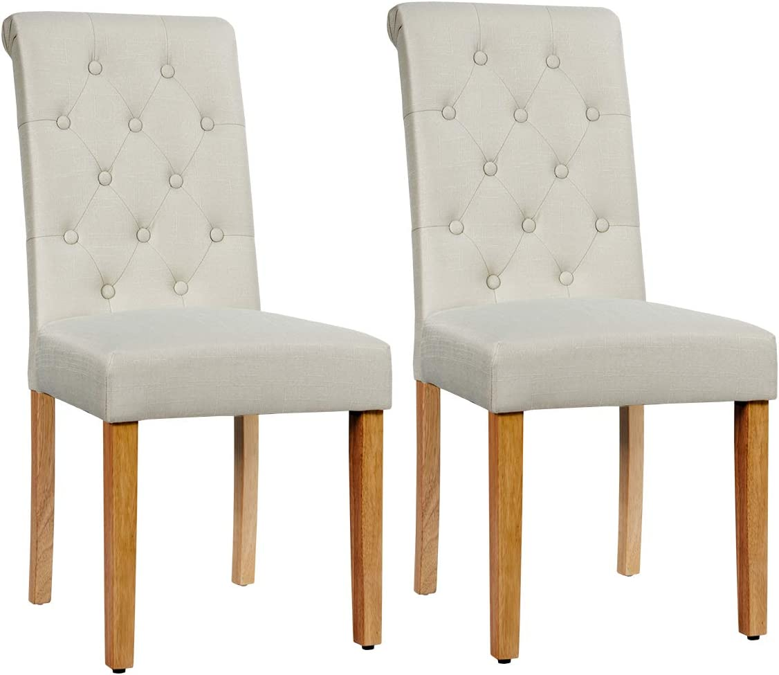 Tufted Parsons Chair for Kitchen Dining Room 2, Beige Anti-Slip Foot Pads Sturdy Wood Legs Giantex Upholstered Dining Chairs Set of 2 with Adjustable Foot Pads