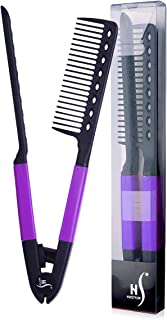 Herstyler Straightening Comb For Hair, Flat Iron Comb For Great Tresses, Hair Straightener Comb With A Grip, Hair Straightener Comb For Knotty Hair, Keratin Comb For Unkempt Hair, Get wooed (Purple)