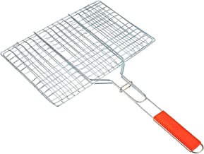 DEETTO Stainless Steel Portable Barbecue BBQ Grill Net Basket Roast Grilling Tray Plated with Wooden Handle, 1- Piece