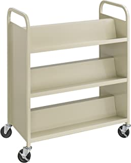 Safco Products 5357SA Steel Double-Sided Book Cart, 3 Shelves On Each Side, Sand