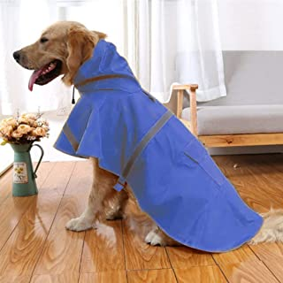NACOCO Large Dog Raincoat Adjustable Pet Water Proof Clothes Lightweight Rain Jacket Poncho Hoodies with Strip Reflective...