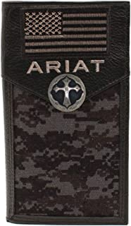Custom Ornate Cross and American Flag Ariat Black Digital Camo long wallet
