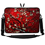Meffort Inc Custom/Personalized Laptop Sleeve Bag with Hidden Handle & Shoulder Strap for Ultrabook Chromebook, Customized Your Name (17.3 Inch, Cherry Blossom)