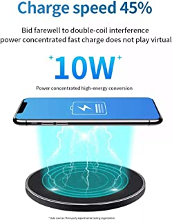 Wireless Charger, PowerWave Stand, Qi-Certified for iPhone 11, 11 Pro, 11 Pro Max, XR, Xs Max, XS, X,8, 8 Plus, 10W Fast-Charging Galaxy S10 S9 S8, Note 10 Note 9 and More (Black-No Adapter)