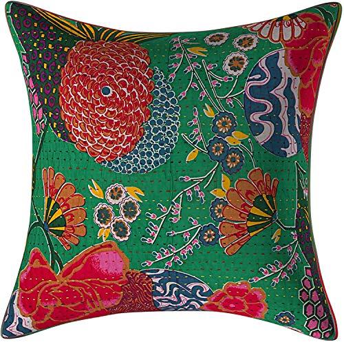 Fundas de cojín decorativas Kantha | Fundas de cojín Kantha | Manta decorativa | Almohada floral | Funda de cojín | Funda de almohada de algodón indio (1)