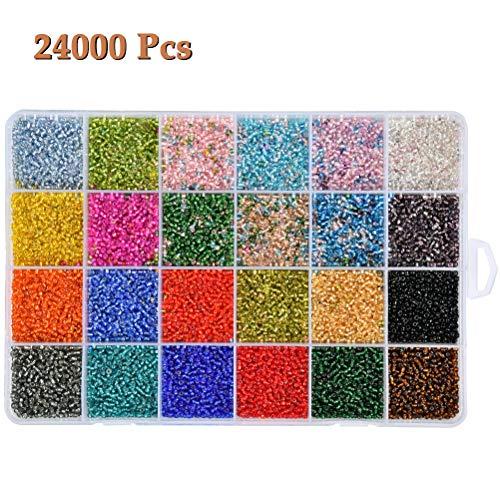 WOWOSS 24 Farben Glasperlen für die Herstellung von ca.24000 Stück Kleine Glasperlen für die Herstellung von Mini-Samenperlen mit gemischten Farben und Schachtel