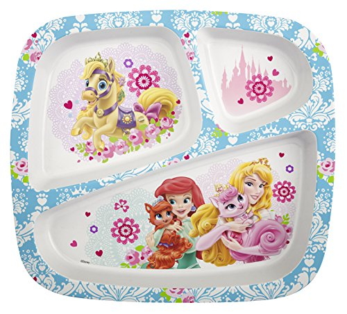 Zak! Designs 3-Section Plate featuring Disney Palace Pets Graphics, Break-resistant and BPA-free Plastic