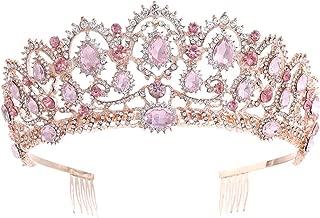 KMVEXO Baroque Royal Queen Gold Wedding Crown Crystal Princess Tiara Headbands for Women Bridal Party Birthday Headpieces (Rose Gold Pink)