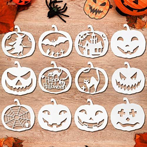 HOWAF 12 Stück Wiederverwendbarer Kunststoff Halloween Schablonen Zeichnung Malerei Set für Halloween kürbis schnitz schnitzen Sprühen Holz Glasfenster Halloween Dekoration
