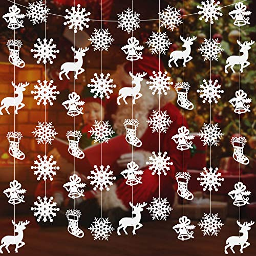 72 Pieces Snowflake Hanging Bunting Christmas Hanging Banner 12 Strings 5 Feet Snowflake Garland Hanging Ornaments with Elk, Sock, Bell for Christmas Winter Holiday New Year Party Home Decoration