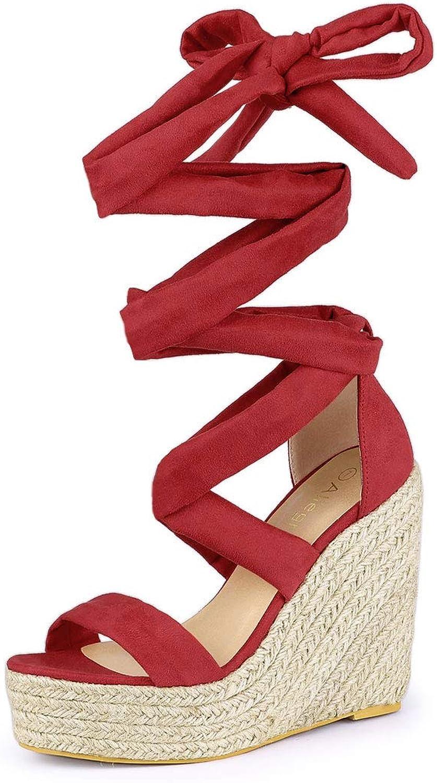 Allegra K Women's Espadrille Platform Wedges Heel Lace Up Sandals