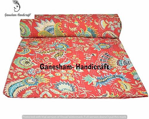 Couverture ethnique indienne hippie pour décoration de chambre - Couvre-lit fait à la main - Literie bohémienne - Couverture de canapé - Couverture de lit en coton Kantha - Couvre-lit brodé à la main - Couvre-lit vintage Kantha