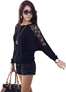 TOPUNDER Womens Long Sleeve Casual Dolman Lace Loose T-Shirt Batwing Tops