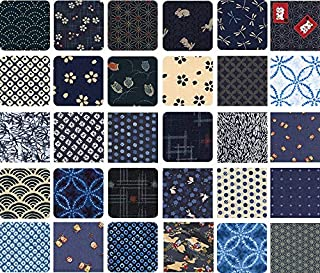 Indigo Blue Asian Japanese Quilt Fabric Charms; 40-5 Inch Squares - Beautiful Selections