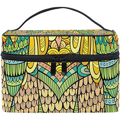 Abstrait Golden Peacock Cosmetic Bag Travel Makeup Train Cases Storage Organizer