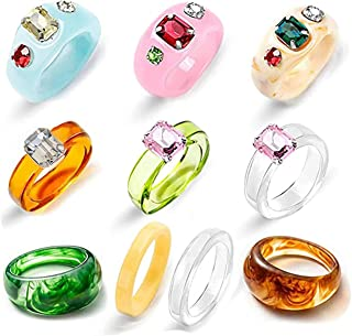 POPGRAT Resin Rings Colorful Acrylic Rings for Women Transparent Plastic Resin Band Ring Jewelry Trendy Unique Square Gem ...