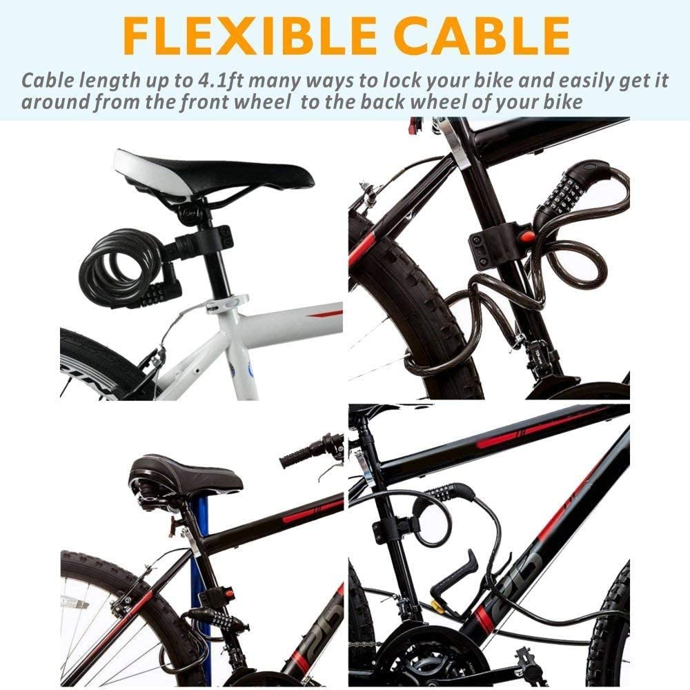 4 Feet X 1//2 Inch Olliwon Bike Lock Cable,4 Feet Bicycle Lock Basic Self Coiling Resettable Combination Cable Bike Locks with Complimentary Mounting Bracket