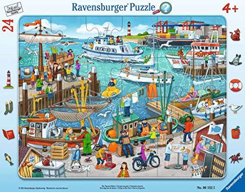 Ravensburger Kinderpuzzle 06152 - Ein Tag am Hafen - Rahmenpuzzle