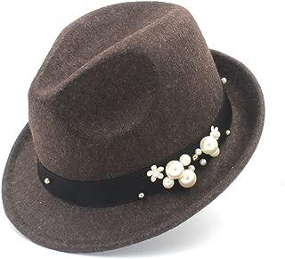 SGJFZD 100% Wool Gangster Trilby Homburg Panama Jazz Caps Women Felt Fedora Hat for Elegant Lady (Color : Coffee, Size : 57-58cm)