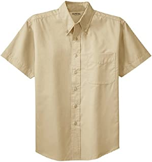 Men's Short Sleeve Wrinkle Resistant Easy Care Button Up Shirt