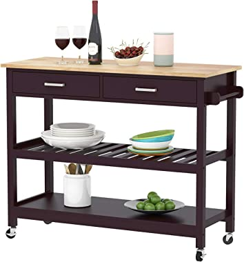Clevr Rolling Kitchen Cart Island on Wheels Trolley, Cabinet w/Drawer, Shelves Storage Shelf, 100% Natural Rubberwood Top, Walnut Colored
