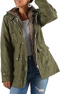 FENICAL Abrigo Medio Largo Abrigo Cálido de Invierno para Mujer Forro de Piel para Mujer Abrigo Largo Chaqueta Larga Grues...