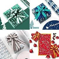 Sariyao 4枚クリスマスラッピングティッシュペーパー、50x70cm DIYギフトボックスプレゼント包装ラップパーティーデコレーション、防水