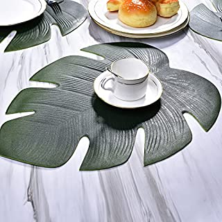 Placemats Leaves , Non-slip Insulation Washable Artificial Soft Tropical Palm Leaves Place mats Set for Home Kitchen Table Runner Party Supplies Tropical Leaves 1pcs by UHBGT