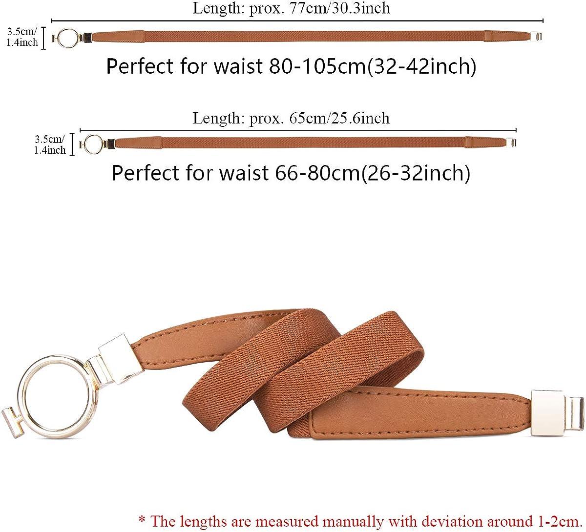 MELLIEX 2 Stücke Damen Dünner Gürtel, Elastischer Schmaler Taillengürtel Metall Haken Taillen Gürtel für Kleid Schwarz + Braun