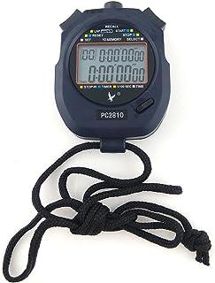 JZK Cronómetro Deportivo Digital Profesional, 2 Filas 10 Memoria, Alarma, Cuenta Regresiva, batería + acollador