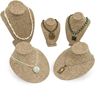 5 Piece Burlap Necklace Bust Kit Jewelry Display Bust Assortment