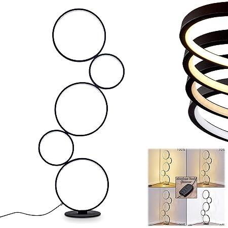 Lampadaire LED Rodekro en métal noir, lampe design sur pied à intensité variable grâce à l'interrupteur sur le câble, 36 Watt, 3200 Lumen, 3000 Kelvin (blanc chaud)