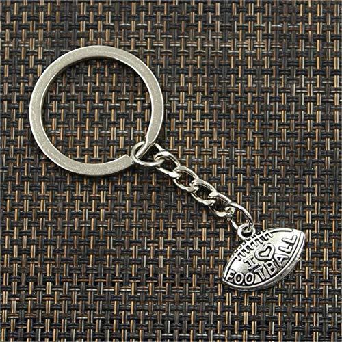 N/ A Art UndWeisemänner Keychain DIY Metallhalterkettenweinlese, Die Ich Fußball Silbernes Hängendes Geschenk Liebe