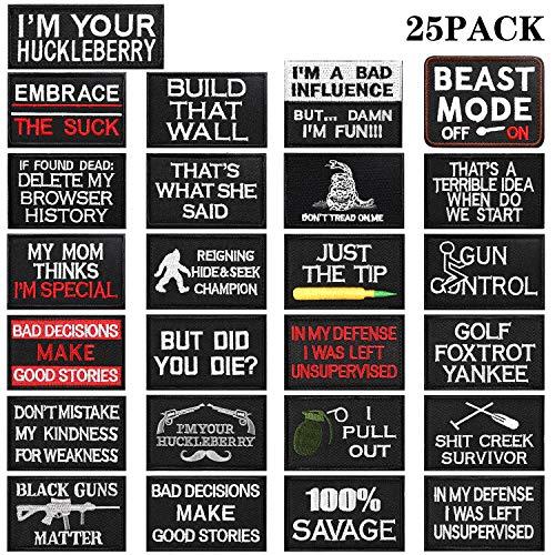 25 Piezas Parche de Bordado Moral Táctico Apliques Tácticos Parches de Bordado Militar para Ropas Gorras Sombreros Bolsos Mochila Cosplay Militar Manualidades de Bricolaje
