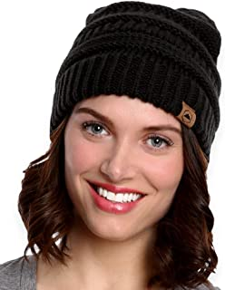 Womens Cable Knit Beanie - Warm & Soft Stretch Winter...