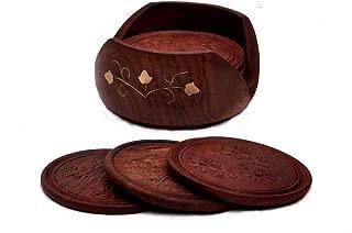 #1 Drink Coaster - SALE on Best SouvNear 6 Mango Wood Drink Coasters and Holder Set - Handmade Wooden Hand-Carved Square Beverage Coaster
