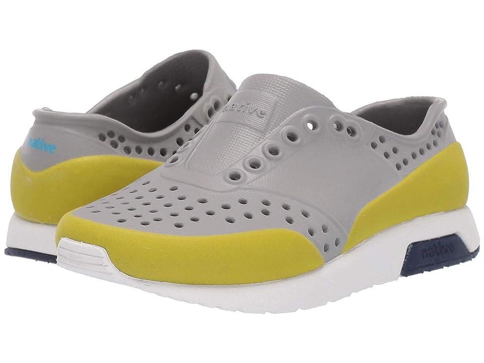 Native Kids Shoes Lennox Color Block (Toddler/Little Kid) (Pigeon Grey/Shell White/Regatta Blue/Glo Green Glow Block) Kids Shoes