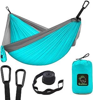 Grassman Camping Hammock Double & Single Portable Hammock with Tree Straps, Lightweight Nylon Parachute Hammocks Camping A...