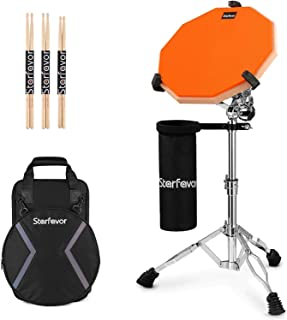 Starfavor Drum Practice Pad with Snare Drum Stand Set, 12-Inch Double Sided Silent Practice Pad with Drum Sticks, Drumstick Holder, Carrying Bag, Orange