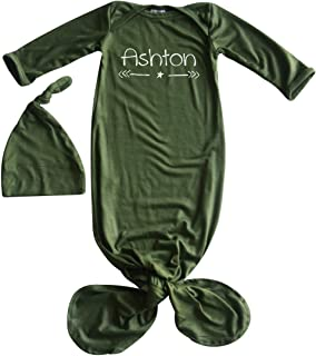 Silky Knotted Baby Gown with Knotted Hat, Unisex, Boys, Girls, Infant Sleeper-Personalized with Name-Star and Arrow