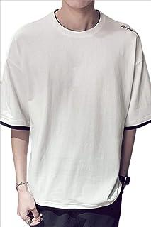 BRTE 5分袖 Tシャツ 重ね着風 ゆったり おしゃれ シンプル