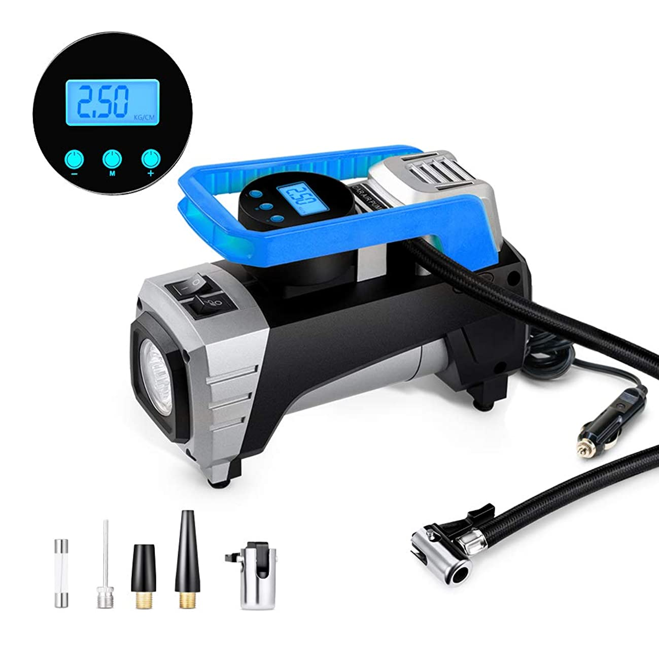Air Compressor Pump, Yimaler 12V 150 PSI Car Air Pump Digital Tire Inflator with Preset Pressure Auto Shut Off Gauge, Portable Tire Pump for Car, Bikes, Motorcycles, Sport Balls Etc(Newest Blue)